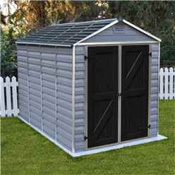 INSTALLED 10 x 6 (3.03m x 1.85m) Double Door Apex Plastic Shed with Skylight Roofing INCLUDES INSTALLATION