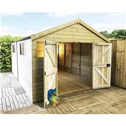 15 x 12 Premier Pressure Treated T&G Apex Shed With Higher Eaves & Ridge Height 6 Windows & Double Doors (12mm Tongue & Groove Walls, Floor & Roof) + Safety Toughened Glass + SUPER STRENGTH FRAMING