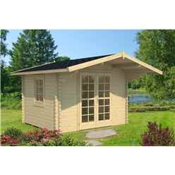 3.2m x 3.2m Budget Apex Log Cabin (218) - Double Glazing (40mm Wall Thickness)