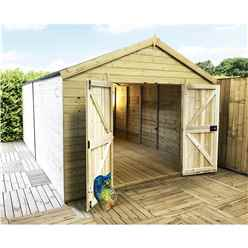14 x 13 Windowless Premier Pressure Treated Tongue And Groove Apex Shed With Higher Eaves And Ridge Height And Double Doors (12mm Tongue & Groove Walls, Floor & Roof) + SUPER STRENGTH FRAMING