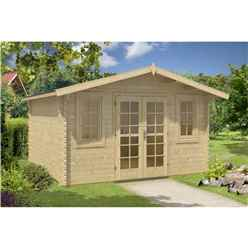 INSTALLED 4m x 4m Budget Apex Log Cabin (201) - Double Glazing (40mm Wall Thickness)