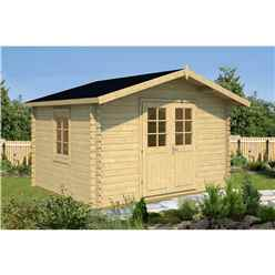 INSTALLED 3.5m x 3m Budget Apex Log Cabin (202) - Single Glazing (28mm Wall Thickness)