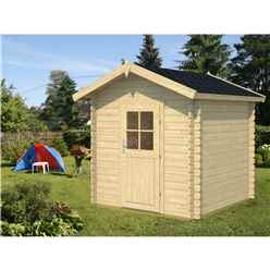 INSTALLED 2m x 2m Budget Apex Log Cabin (203) - Single Glazing (28mm Wall Thickness)