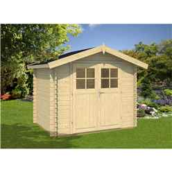 INSTALLED 3m x 2m Budget Apex Log Cabin (206) - Single Glazing (28mm Wall Thickness)