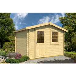 INSTALLED 3.5m x 2.5m Budget Apex Log Cabin (207) - Single Glazing (28mm Wall Thickness)