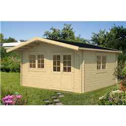 INSTALLED 5m x 5m Budget Apex Log Cabin (210) - Double Glazing (40mm Wall Thickness)