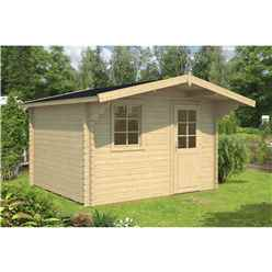 INSTALLED 4.3m x 2.6m Budget Apex Log Cabin (212) - Double Glazing (40mm Wall Thickness)