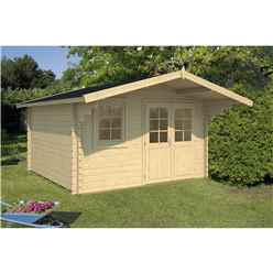 INSTALLED 3.8m x 3.2m Budget Apex Log Cabin (213) - Double Glazing (40mm Wall Thickness)