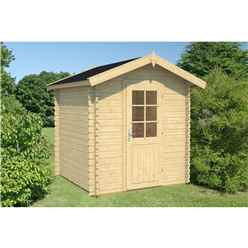 INSTALLED 2.2m x 2.2m Budget Apex Log Cabin (219) - Single Glazing (28mm Wall Thickness)