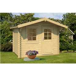INSTALLED 2.9m x 2.2m Budget Apex Log Cabin (220) - Single Glazing (28mm Wall Thickness)