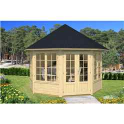 INSTALLED 3.4m x 3.4m Budget Apex Log Cabin - Octagonal (223) - Double Glazing (40mm Wall Thickness)