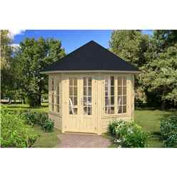 INSTALLED 2.9m x 2.9m Budget Apex Log Cabin Octagonal (224) - Double Glazing (40mm Wall Thickness)