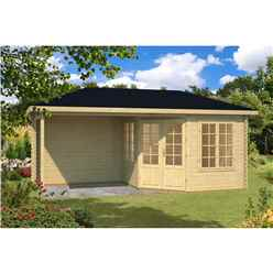 INSTALLED 5.8m x 3m Budget Apex Log Cabin + Porch (222) - Double Glazing (40mm Wall Thickness)