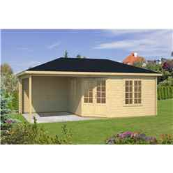 INSTALLED 6.8m x 3.8m Budget Apex Log Cabin + Porch (225) - Double Glazing (40mm Wall Thickness)