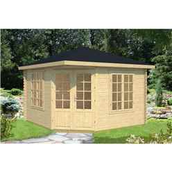 INSTALLED 3.5m x 3.5m Budget Apex Log Cabin - Corner (221) - Double Glazing (40mm Wall Thickness)