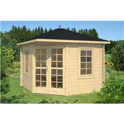 INSTALLED 3m x 3m Budget Apex Log Cabin - Corner (227) - Single Glazing (28mm Wall Thickness)