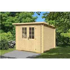 INSTALLED 2.9m x 2.9m Budget Apex Log Cabin - Pent (232) - Single Glazing (28mm Wall Thickness)