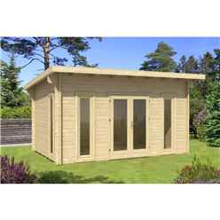 INSTALLED 4.7m x 3.2m Budget Apex Log Cabin - Pent (233) - Double Glazing (40mm Wall Thickness)