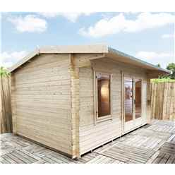 INSTALLED 4.2m x 4.2m Premier Reverse Apex Home Office Log Cabin (Single Glazing) - Free Floor & Felt (44mm) - INSTALLATION INCLUDED