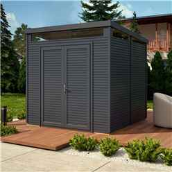 8 x 8 (2.4m x 2.4m) - Pent Security Shed - Painted Anthracite - Double Doors - 19mm Tongue and Groove