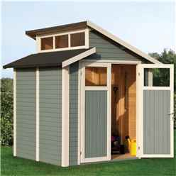 7 x 7 Skylight Shed - Double Doors - 19mm Tongue + Groove Walls, Floor + Roof - Painted Light Grey