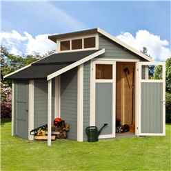 7 x 10 Skylight Shed Store - Double Doors -19mm Tongue and Groove Walls, Floor + Roof - Painted With Light Grey
