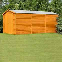15 x 10 (4.52m x 2.99m) Windowless Dip Treated Overlap Apex Wooden Garden Shed With Double Doors (11mm Solid OSB Floor) - CORE (BS)