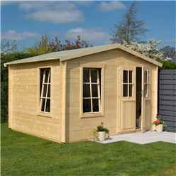 3.4m x 3m Retreat Apex Log Cabin - 19mm Wall Thickness (11 x 10)