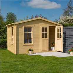 3.4m x 2.1m  Studio Apex Log Cabin - 19mm Wall Thickness