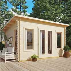 4.4m x 3.4m Sanctuary Pent Log Cabin - 28mm Wall Thickness (14 x 11)