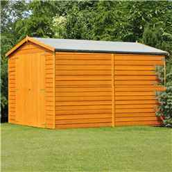 INSTALLED 10 x 10 Windowless Dip Treated Overlap Apex Wooden Garden Shed with Double Doors (11mm Solid OSB Floor) - INSTALLATION INCLUDED