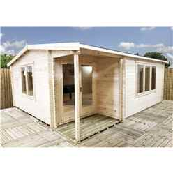 INSTALLED 4.8m x 5.4m Premier Home Office Apex Log Cabin (Single Glazing) - Free Floor & Felt (34mm) - INSTALLATION INCLUDED