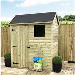 6 x 4 Reverse Apex Premier Pressure Treated Tongue And Groove Shed With Higher Eaves And Ridge Height + 1 Windows + Single Door + Safety Toughened Glass - 12mm Tongue and Groove Floor and Roof