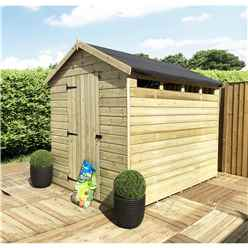 8 x 6 Security Pressure Treated Tongue & Groove Apex Shed + Single Door + Safety Toughened Glass