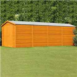INSTALLED 20 x 10 (6.05m x 2.99m) Windowless Dip Treated Overlap Apex Wooden Garden Shed With Double Doors (11mm Solid OSB Floor) INSTALLATION INCLUDED