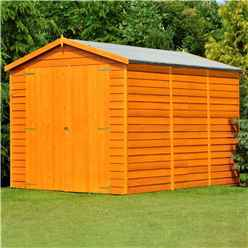 INSTALLED 12 x 8 (3.59m x 2.39m) Windowless Dip Treated Overlap Apex Garden Shed Double Doors 11mm Solid OSB Floor