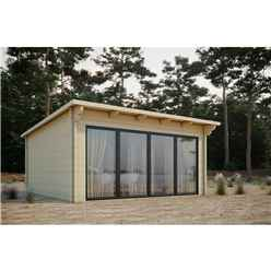 INSTALLED 7.5m x 4m Sliding Door Pent Log Cabin - Double Glazing (68mm Wall Thickness)