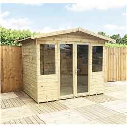 8 x 8 Pressure Treated Tongue And Groove Apex Summerhouse + Overhang + Safety Toughened Glass + Euro Lock with Key