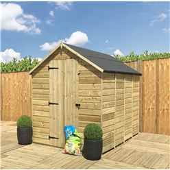 INSTALLED 5 x 4 **Flash Reduction** Super Saver Windowless Pressure Treated Tongue And Groove Single Door Apex Shed (Low Eaves)