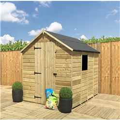 7 x 5 **Flash Reduction** Super Saver Pressure Treated Tongue And Groove Single Door Apex Shed (Low Eaves) + 1 Window