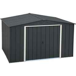 OOS - BACK MAY 2021 - 10 x 8 Value Apex Metal Shed - Anthracite Grey (3.22m x 2.42m)