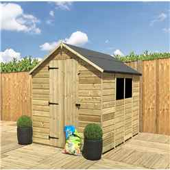 8 x 8 **Flash Reduction** Super Saver Pressure Treated Tongue And Groove Single Door Apex Shed (Low Eaves) + 2 Windows