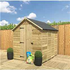 INSTALLED 8 x 8 **Flash Reduction** Windowless Super Saver Pressure Treated Tongue And Groove Single Door Apex Shed (Low Eaves) - INCLUDES INSTALLATION