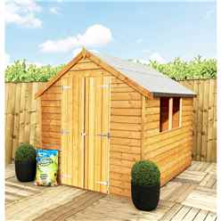 ** FLASH REDUCTION** 8 x 6 (2.39m x 1.83m) - Super Value Overlap - Apex Wooden Shed - 2 Windows - Double Doors - 8mm Solid OSB Floor - CORE