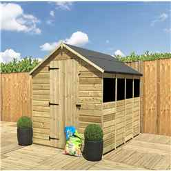 14 x 8 **Flash Reduction** Super Saver Pressure Treated Tongue And Groove Single Door Apex Shed (Low Eaves) + 4 Windows