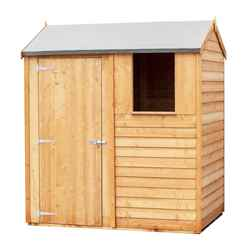 ** IN STOCK LIVE BOOKING ** ** FLASH REDUCTION** 6 x 4  (1.83m x 1.20m) - Reverse - Super Value Overlap - Apex Wooden Garden Shed - 1 Window - Single Door - 8mm Solid OSB Floor - CORE