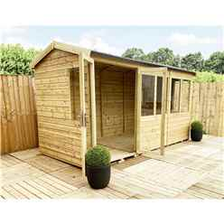 12 x 7 REVERSE Pressure Treated Tongue And Groove Apex Summerhouse + Overhang + Safety Toughened Glass + Euro Lock with Key