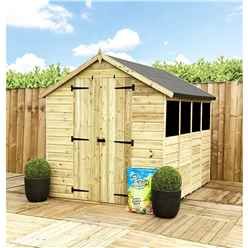 14 x 4 **Flash Reduction** Super Saver Pressure Treated Tongue & Groove Apex Shed + Double Doors + Low Eaves + 4 Windows