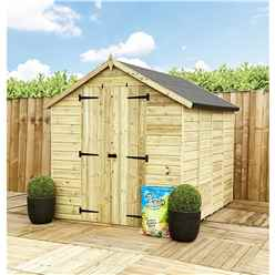 7 x 5 **Flash Reduction** Super Saver Windowless Pressure Treated Tongue & Groove Apex Shed + Double Doors + Low Eaves