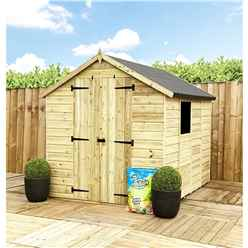 7 x 6 **Flash Reduction** Super Saver Pressure Treated Tongue & Groove Apex Shed + Double Doors + Low Eaves + 1 Windows